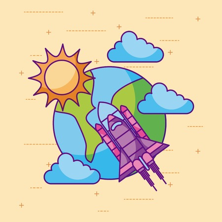 planet earth rocket sun cloud space universe vector illustration Illustration