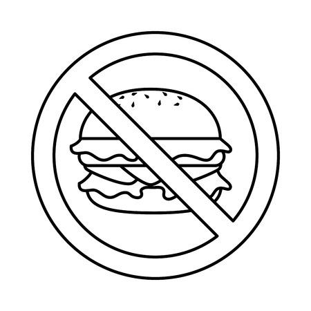 ハンバーガー ファーストフードのアイコン ベクトル イラスト デザインを禁止