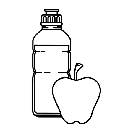 water bottle gym with apple vector illustration design