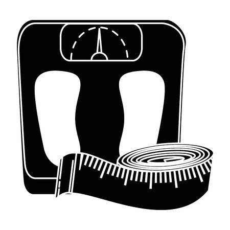 bathroom scale: scale weight with tape measure icon vector illustration design