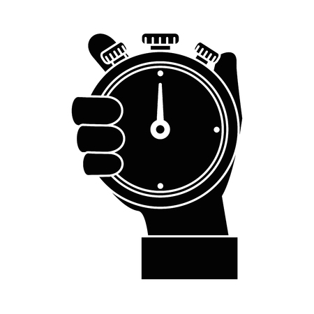 hand human with chronometer timer isolated icon vector illustration design 向量圖像