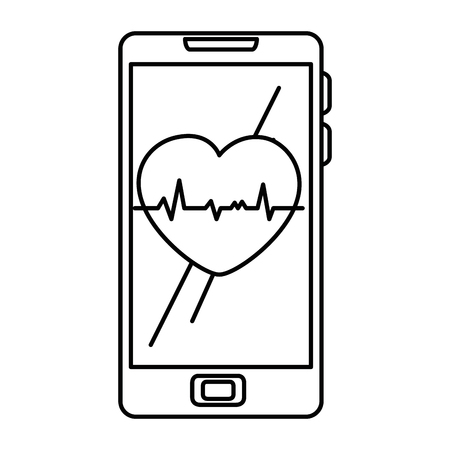 smartphone device with cardiology app vector illustration design