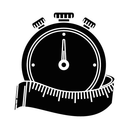 chronometer timer with tape measure vector illustration design