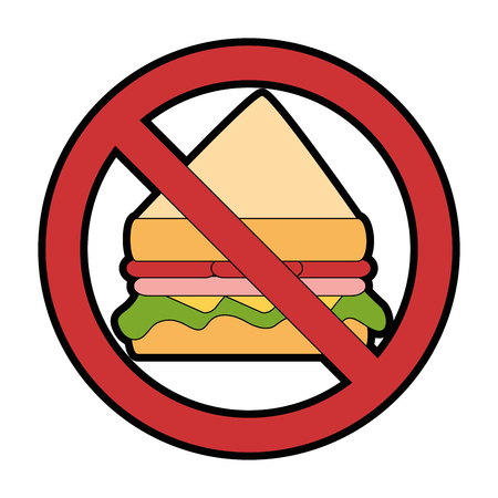 prohibited sandwich fast food icon vector illustration design