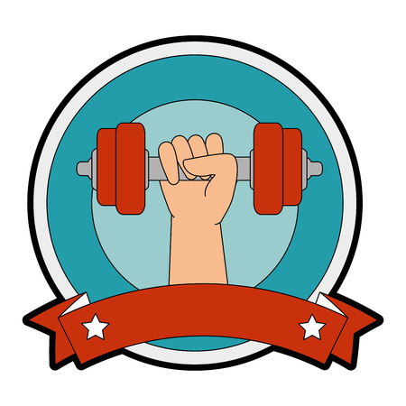 hand human with weight lifting isolated icon vector illustration design