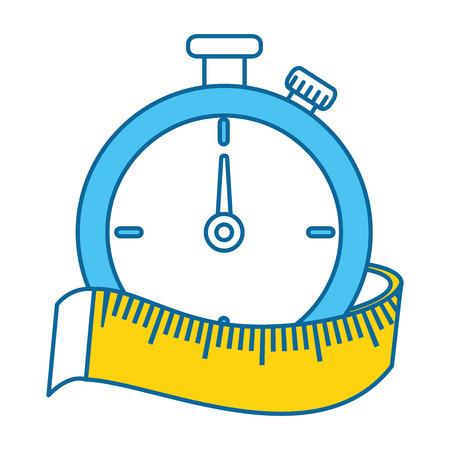 Temporizzatore del cronometro con progettazione dell'illustrazione di vettore di misura di nastro Archivio Fotografico - 86926330