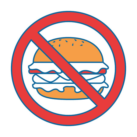 prohibiting: prohibited burger fast food icon vector illustration design Illustration