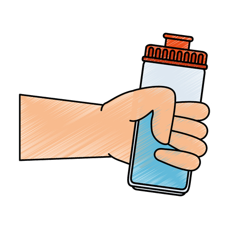 hand human with water bottle gym icon vector illustration design