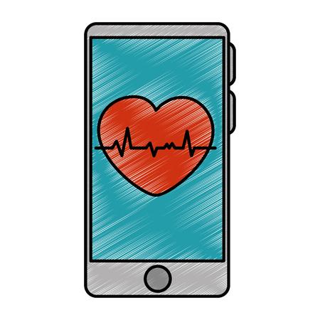 smartphoneapparaat met ontwerp van de cardiologie het app vectorillustratie