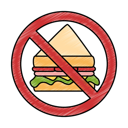 prohibiting: prohibited sandwich fast food icon vector illustration design