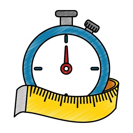 Temporizzatore del cronometro con progettazione dell'illustrazione di vettore di misura di nastro Archivio Fotografico - 86926407