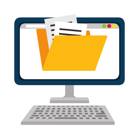 computer desktop with folder vector illustration design