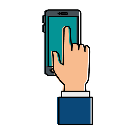 hand user with smartphone isolated icon vector illustration design Illustration
