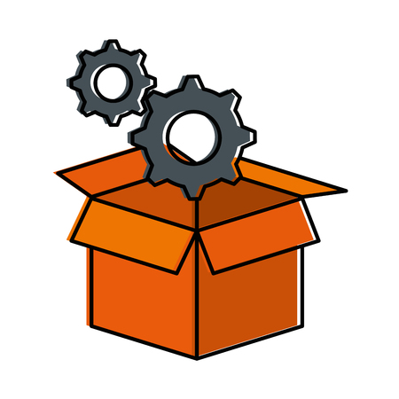 box with gears machine isolated icon vector illustration design Illustration