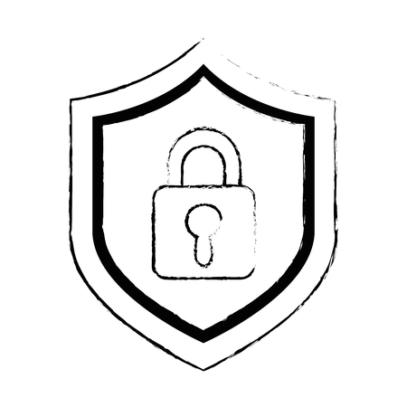 shield with safe padlock isolated icon vector illustration design Stock Vector - 86926536