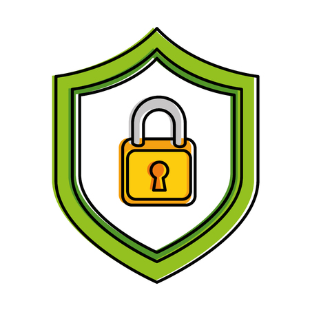 shield with safe padlock isolated icon vector illustration design Stock Illustration - 86926578