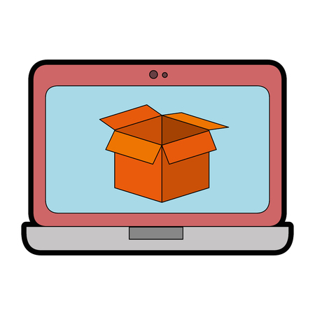 laptop computer with box vector illustration design Stock Photo