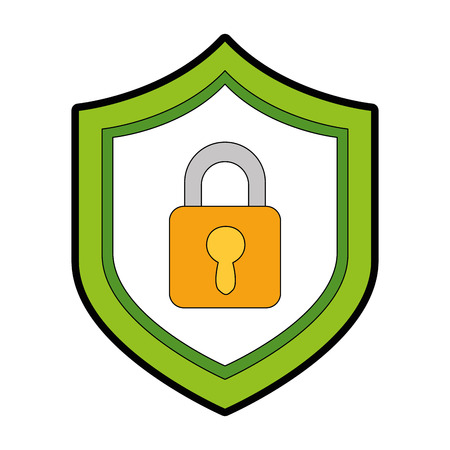 shield with safe padlock isolated icon vector illustration design Stock Photo