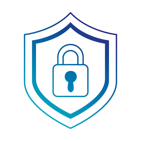shield with safe padlock isolated icon vector illustration design Ilustrace