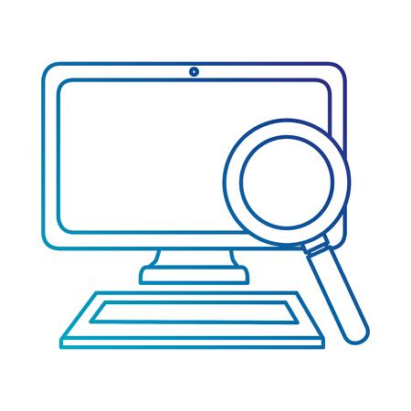 computer desktop with magnifying glass vector illustration design Illustration