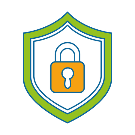 shield with safe padlock isolated icon vector illustration design Stock Vector - 86933799