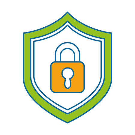 shield with safe padlock isolated icon vector illustration design Stock Illustration - 86933821