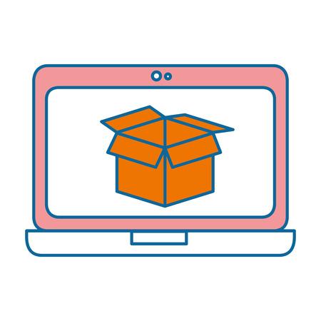 laptop computer with box vector illustration design Banco de Imagens