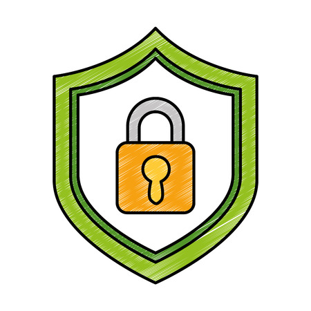 shield with safe padlock isolated icon vector illustration design Ilustração