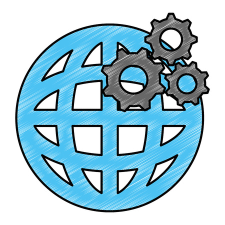 planet sphere with gears vector illustration design