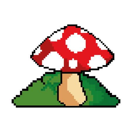 pixelated game mushroom icon vector illustration design Illustration