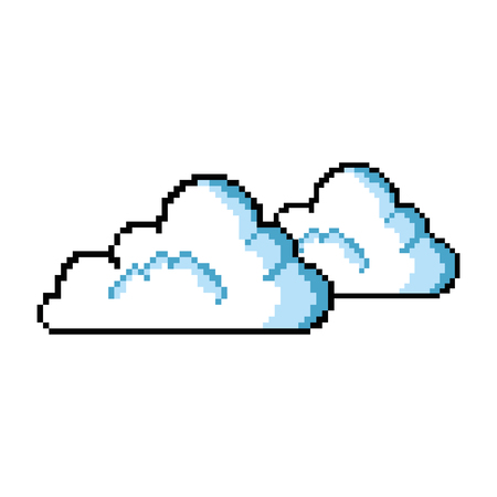 pixelated cloud game icon vector illustration design