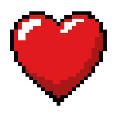 pixelated heart game icon vector illustration design 版權商用圖片