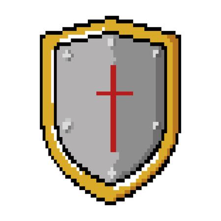 pixelated shield game icon vector illustration design Banco de Imagens