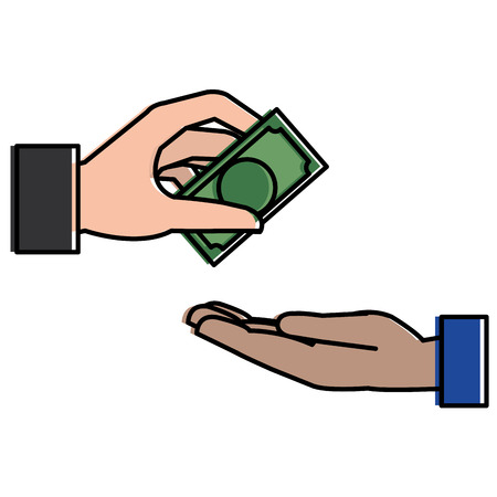 deuce: hands human paying money isolated icon vector illustration design