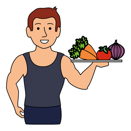 thin man in sports suit with vegetables tray vector illustration design Illustration