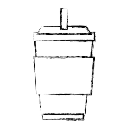 plastic cup with straw vector illustration design