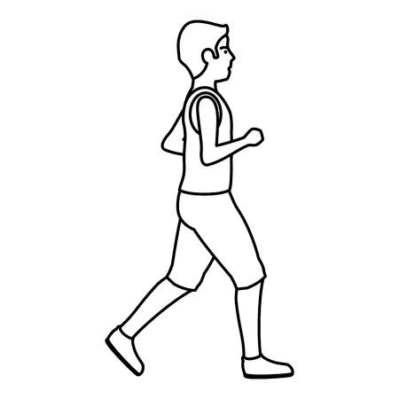 hombre delgado en traje de deporte ejecuta diseño de ilustración vectorial