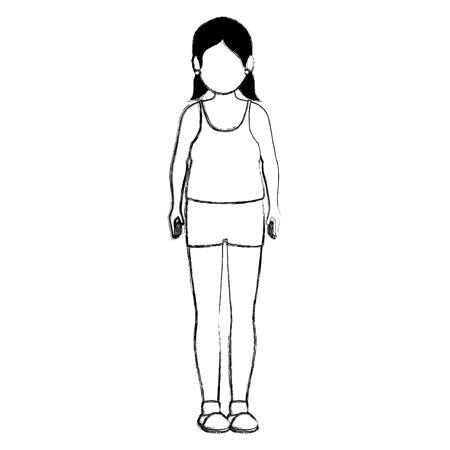 fat woman in sport suit vector illustration design