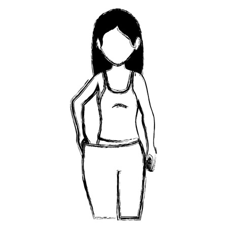slim woman in sports suit with big pants vector illustration design