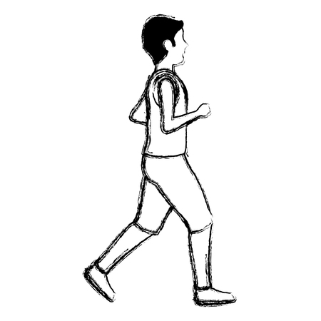 thin man in sports suit running vector illustration design
