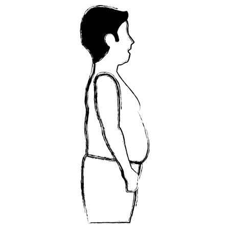 zwaarlijvige man zonder een shirt vector illustratie ontwerp