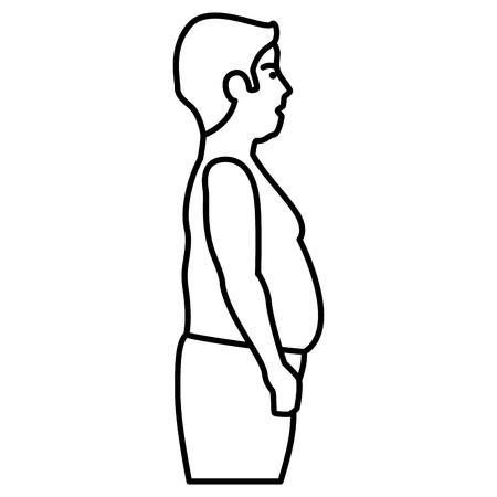 Uomo obeso senza un disegno di illustrazione di vettore della camicia Archivio Fotografico - 86934033