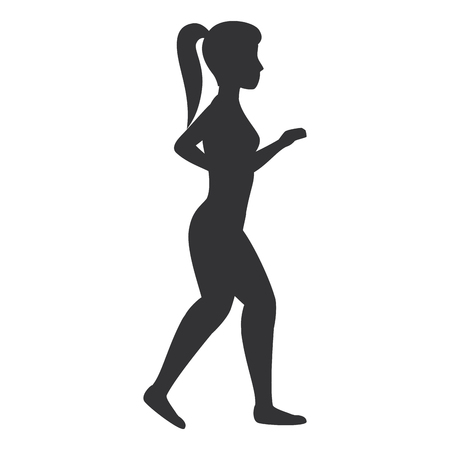 Athlete woman doing exercise vector illustration design