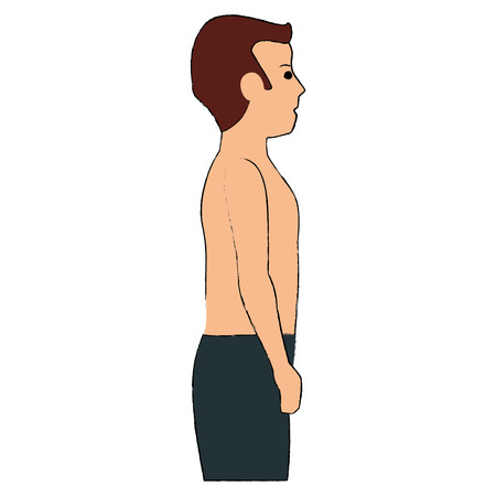 thin man shirtless in sports suit vector illustration design Illustration