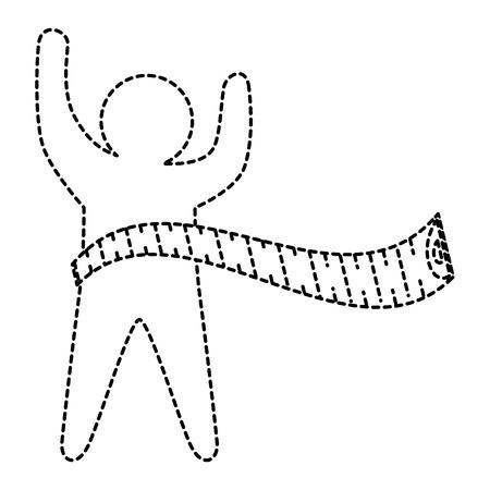 ・テープ測定ベクトルイラスト設計によるフィットネスシルエットヒューマン  イラスト・ベクター素材