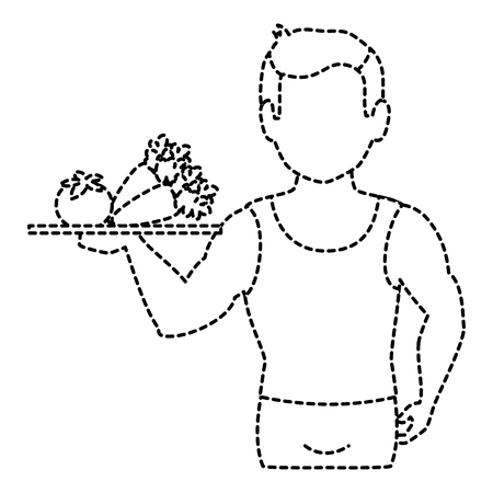 thin man in sports suit with vegetables tray vector illustration design Stock Vector - 86966916