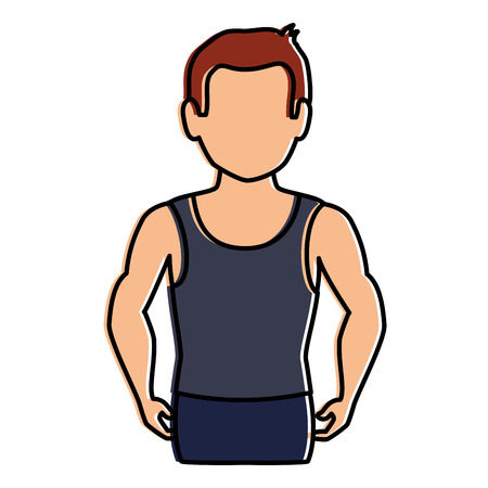 thin man in sports suit vector illustration design