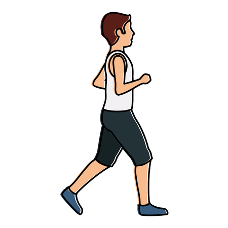 thin man in sports suit running vector illustration design