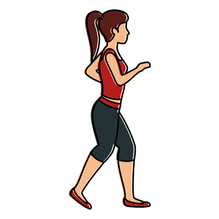 Athlete woman doing exercise vector illustration design