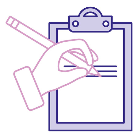 Hand human with pencil writing in clipboard vector illustration design Ilustração